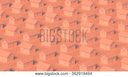 Block Of Simple Small Rural Houses, Town Block Abstract Cgi Representation, 3d Rendering Illustratio