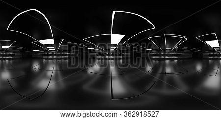 Full 360 Degree Equirectangular Panorama Hdri Of Dark Modern Futuristic Shiny Reflective Building In