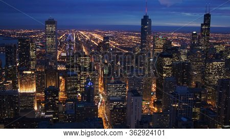 Chicago, Illinois, United States - Dec 11th, 2015: Aerial View Of Chicago Downtown At Twilight From