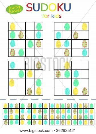 Happy Easter Sudoku Simple Games For Children Holidays Pastime. Cute Painted Eggs Four Logical Game