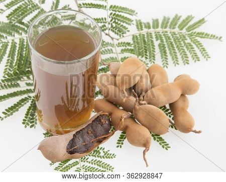 Tamarind Juice In A Glass Surrounded By Fresh Ripe Tamarinds - Tamarindus Indica