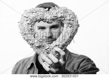 All Thoughts About Love. Romantic Greeting. Valentines Day Sales. Man With Decorative Heart. Date. U