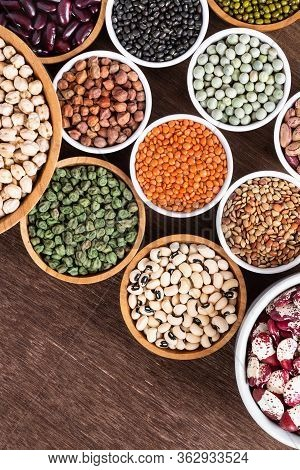 Various Assortment Of Indian Legumes - Beans, Chickpeas, Lentils, Dal Top View. Vegetable Proteins.
