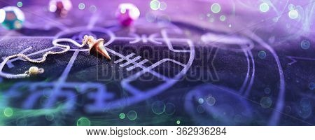 Esoteric Concept - Pendulum On Blurred Altar With Smoke And Bokeh