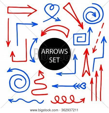 Vector Set Of Blue And Red Icons Arrow. Hand-drawn Vector Illustration Of Pointer