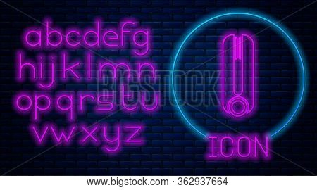 Glowing Neon Curling Iron For Hair Icon Isolated On Brick Wall Background. Hair Straightener Icon. N