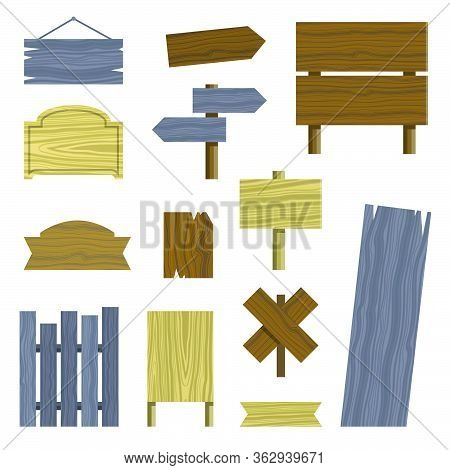 Wooden Different Shapes Signs Boards Set, Vector Elements. Wooden Tablets And Signs. Vector Icons On