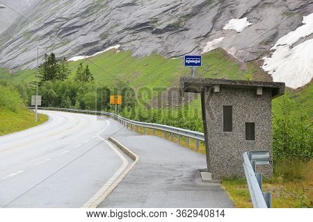 Bus Stop Turnout In Norway. Sogn Og Fjordane Mountain Road.