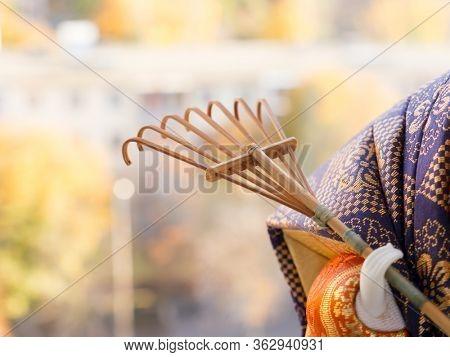 GOMEL, BELARUS - APRIL 20, 2020: The Antique Kimekomi Japanese doll old man Jo depicting a Noh play,