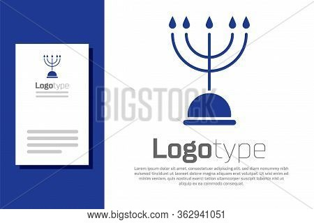 Blue Hanukkah Menorah Icon Isolated On White Background. Hanukkah Traditional Symbol. Holiday Religi