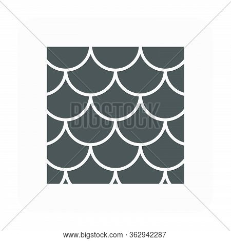 Fishscale Roof Tile Pattern Vector Icon. Made From Material I.e. Terracotta, Slate, Metal, Steel, Ce