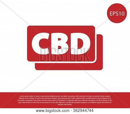 Red Cannabis Molecule Icon Isolated On White Background. Cannabidiol Molecular Structures, Thc And C