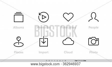 Photo And Media Types Icon Set. Such As Albums, Memories, Favourite, People, Places, Import, Cloud,