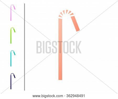 Coral Drinking Plastic Straw Icon Isolated On White Background. Set Color Icons. Vector Illustration