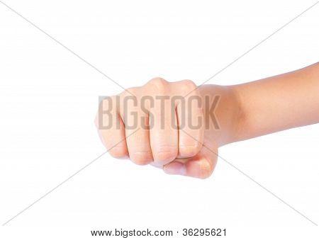 Powerful Fist Pump Woman Hands