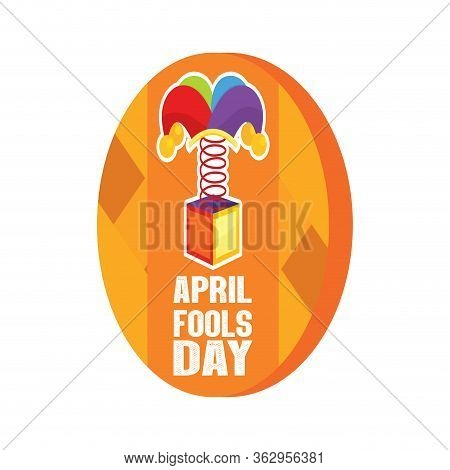 April Fool Day Button With A Joke Box - Vector