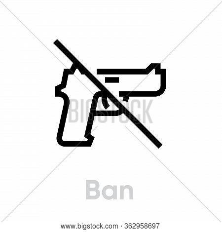 Ban Gun Shot Icon. Editable Line Vector.