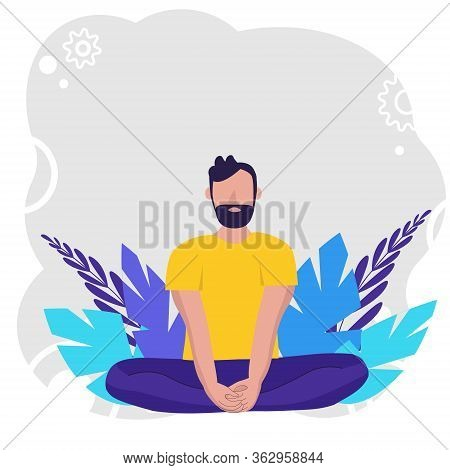 Man Doing Yoga For Yoga Day Celebration On Background In Nature. Concept Illustration For Yoga, Medi