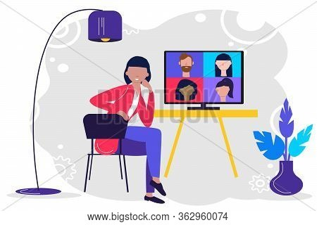 Online Meeting Via Group Call. Woman Talking To Friends, Coleagues In Video Conference At Office Or
