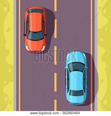 Cars On Road Semi Flat Vector Illustration Top View. Transport On Drive Way In Countryside. Vehicles