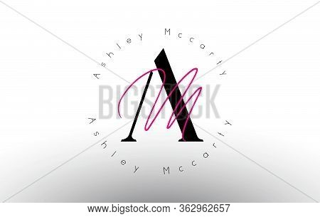 Letter Am Signature Minimalistic Monogram Vector Logo. Simple Am Icon With Circular Name Pattern. Cr