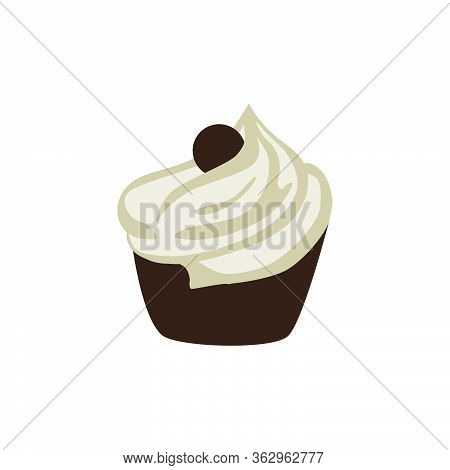 Muffin Cake With Cream, Vector Graphic Design Element