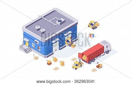 Isometric Warehouse Box Cargo Forklift Pallet And Forklift Factory. Delivery Goods Vector Illustrati