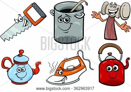 Cartoon Illustration Of Household And Every Day Objects Characters Clip Art Set