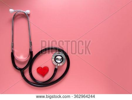 Internationals Nurse Day, Week Concept, Stethoscope And Red Heart On Pink Background With Copy Space