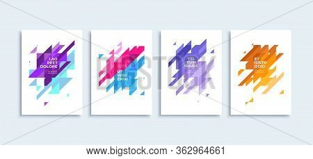 Modern Abstract Backgrounds Vector Posters Or Banners Set Flat Geometric Triangles Colorfu Shapes