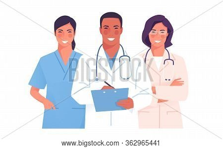 Vector Illustration Of A Medical Team, Group Of Physicians, Practitioners, Doctors