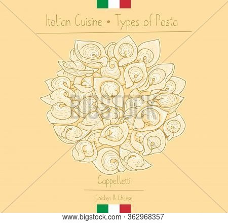Italian Food Hat-shape Pasta With Cheese Filling Aka Cappelletti, Sketching Illustration In The Vint