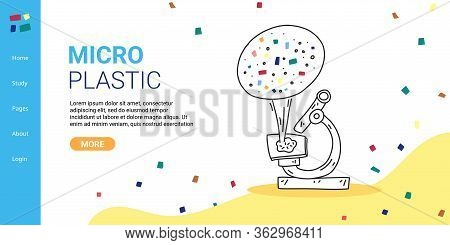 Banner Inscription Micro Plastic, Landing Page. Plastic Pollution Is Global. Look At Particles Plast