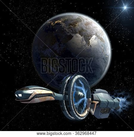 3d Illustration Of A Military Spaceship Leaving Earth With Magnetic Propulsion Wheels, For Futuristi