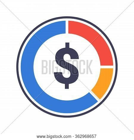 Statistical Pie Chart Piechart And Dollar Sign Flat Vector Icon For Apps And Websites. Eps 10