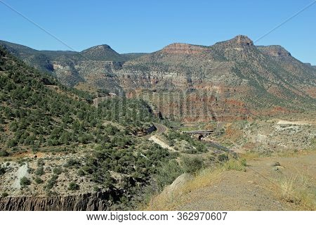 Landscape Mountain View Of Pinto Creek Bridge Tonto Basin  Off Interstate Arizona Route 60