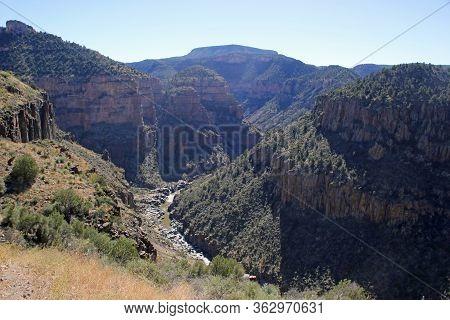 Landscape View River Basin In Arizona Desert Mountain