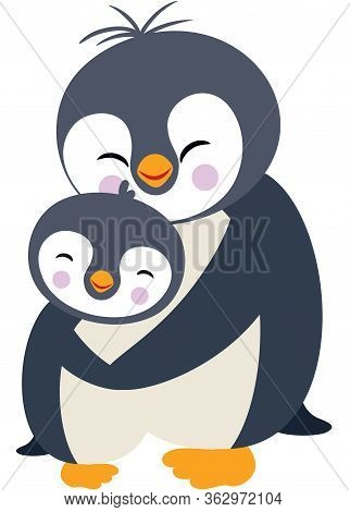 Scalable Vectorial Representing A Mum Penguin Hugging Her Son, Element For Design, Illustration Isol