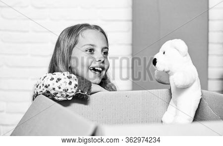 Little Child Open Post Package With Toys. Delivering Happy Moments To Childhood. Insurance Post Pack