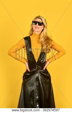 Sexy Woman. Trendy Clothes. Stylish Blonde Woman In Fashionable Woman In Tight Leather Latex Dress.
