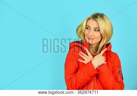 Woman Enjoy Cool Weather. Matching Style And Class With Luxury And Comfort. Fashion Outfit. Cute Blo