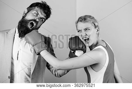 Sport Success. Problems In Relationship. Sport. Family Couple Boxing Gloves. Strength And Power. Bea