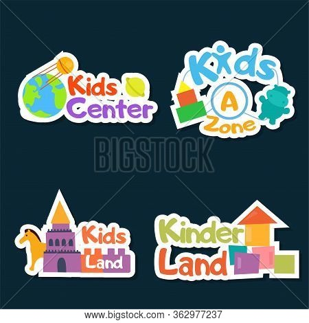Kids Logo Vector Set. Logo Collection Of Kids Club, Land, Playground, Zone, Hobby, Arts. Colorful Pr