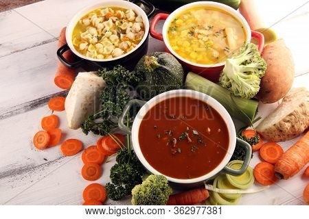 Set Of Three Soups From Worldwide Cuisines, Healthy Food. Broth With Noodles, Beef Soup And Broth Wi