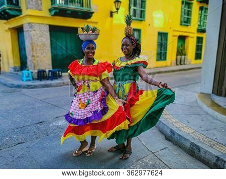 Bogota, Colombia - November 07, 2019: Unidentified People In Traditional Dress In Cartagena De India