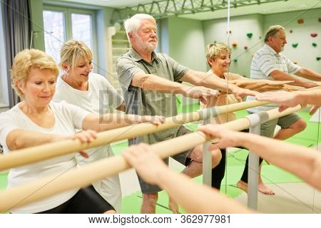 Group of seniors at the physiotherapy at a ballet bar in front of a mirror in physiotherapy