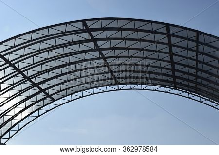 Abstract High-tech Architecture Background Photo, Internal Structure Of Glass Roof Arch. Glass Arch