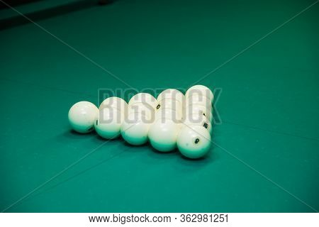 Sports Game Of Billiards On A Green Cloth