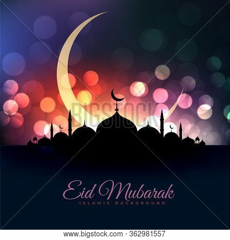 Eid Al Fitar Beautiful Mosque And Moon Bokeh Greeting