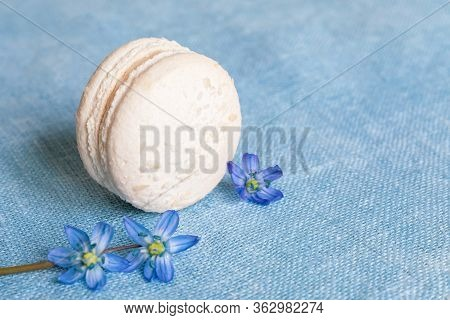 White Macaron And Spring Flower On A Linen Napkin. Macarons Or Macaroons Is French Or Italian Desser